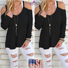 Women Fall Off Shoulder Strapless Long Sleeve Casual Tops Blouse Sports T-shirt