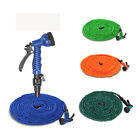 4 Colors 25 50 75 100 FT Latex Garden Water Hose Expanded Flexible Spray Nozzl