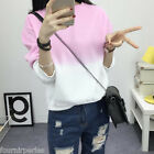 Femmes Gradient Manches Longues O-Neck Casual Pullovers Loose Sports Outwear