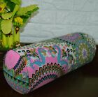af253g Blue Pink Olive FLower Cotton Canvas Yoga Bolster Cushion Cover Customize