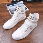 Mens Hip hop Rivet Round Toe High Top Sneakers Fashion Punk Motorcycle Boots