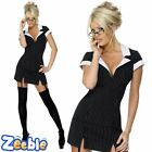 Womens Secretary Costume Adult Sexy Outfit Glasses + Suspenders Fancy Dress