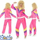 Womens 1980s 1990s Pink Shell Suit Chav Fancy Dress Costume Fun Outfit