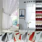 Glitter JEWELLED Sequin Sparkle Crystal Voile Swag or Slot Top Curtain Panel