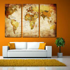 3Pc World Map Fashion Print Canvas Art Oil Painting Picture Framelss Set Decor
