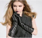 "40cm(15.7"") long real fashion 2017 sheep leather evening gloves in black"