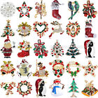 Christmas Gifts Xmas Rhinestone Crystal Snowman Stockings Santa Tree Brooch Pins