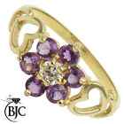 BJC® 9ct Yellow gold Amethyst Daisy Cluster Dress Ring ring R274