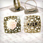 5/10pcs Square/Flower/Flat Round Settings Ring Mountings Antique Brass