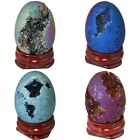 Titanium Coated Drusy Egg Oval Stone Agate Geode Healing Decor with Wood Stand