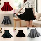 Us Fashion Women Winter Pleated Mini Skirt Skater Stretch High Waist Short Skirt