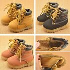 2017 Baby Kids Boy Girl PU Leather Martin Snow Boots Fur Lined Winter Warm Shoes