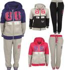 Kids New Girls Fitness Sports Hooded Full Top Bottom Tigers Tracksuit Set Sizes