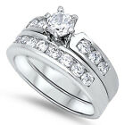 Sterling Silver 925 Round CZ Clear Women's Channel Set Wedding Ring Set Size 5-9