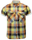 SALE!! NEW MENS FLY53 'AGILE' RETRO MOD TOP STITCH BLOCK CHECK SHIRT BROWN K43
