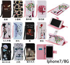 10pcs/lot Painted 11 different Design Flip PU Leather Case For iPhone 7/7P/8/8P