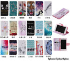 10pcs/lot Painted 18 different Design Flip PU Leather Case For iPhone 7/7P/8/8P