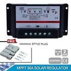 10A 20A 30A 12V/24V PWM Solar Panel Chage Controller Regulator+ 2pcs Plugs KJ