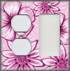Metal Light Switch Plate Cover - Big Flowers Leaves Floral Decor Pink