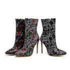 Women's Zip Pointed Toe Boots Floral Slim High Heels Stiletto Shoes UK Size O016
