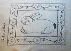 Rabbit with Posies Border Primitive Rug Hooking Pattern on monks cloth