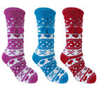 Foxbury Ladies Chunky Knitted Fairisle Non Slip Slipper Socks