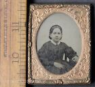 Antique Ambrotype Photo of Pretty Girl in Plaid Dress Wearing Jewelry