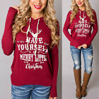 Womens Ladies Christmas Hoodie Sweatshirt Jumper Sweater Hooded Pullover Tops