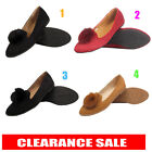 Womens Ladies Flat Furry Pom Pom Ballerina Dolly Pumps Slip On Shoes Size Uk 3-8