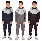Boys Contrast Marl Panel Tracksuit Hoodie & Bottoms 2 Piece Set Joggers Kid Suit