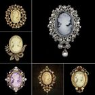 Vintage Cameo Queen Retro Gold Crystal Rhinestone Brooch Pin DIY Wedding Bouquet