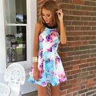 Women Summer Sexy Backless Floral Printed Mini Sleeveless Evening Party Dress