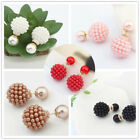 Colorful Beads Double Sided Earring Two Ball Ear Stud Fashion Vintage Jewelry