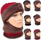 Women Warm Skull Caps Set Textured Knit Plush Casual Ski Scraf Wrap K0E1
