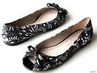 new MARC JACOBS black/white floral open-toe bow flats shoes 38 8 - SUPER CUTE
