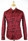 SALE! NEW HAWKWELL PETER WERTH RETRO MOD SKETCH PRINT SHIRT IN OXBLOOD K33