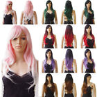 Heat Resistant Light Pink Cosplay Full Wig Layer Wavy Straight Ombre Color CP68