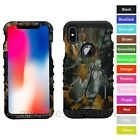 For iPhone X Camo Design Hard&Rubber Hybrid Rugged Impact Armor Phone Case Cover