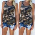 Casual Women Camo Tank  Camouflage Blouse Fashion Army Sleeveless Vest Tops