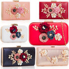 Floral Pearl Wedding Women Bridal Bag Hard Compact PU Leather Evening Clutch NEW