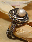 UNIQUE SOLID SPIRAL NATURAL PEARL 925 SILVER RING - All Sizes