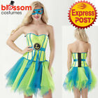 K437 Ladies Leonardo Ninja Turtle TMNT Corset Tutu Pettiskirt Dress Up Costume