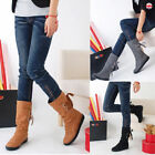 2017 New Womens Shoes Extra Wide Calf Stretch Mid Calf Under Knee Casual Boots