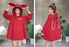 Cute Rabbit Hood Patch A shape long-sleeved red top shirt dress ML