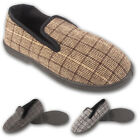 Mens Check Slip On Comfort Leisure Gents Slippers Shoes Size UK 7 8 9 10 11 12