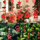 1/5Pcs Christmas Snowflake Heart Star Bell Wind Xmas Tree Hanging Decoration