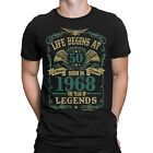 Life Begins At 50 Mens T-Shirt BORN In 1968 Year of Legends 50th Birthday Gift