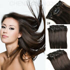 Clip In on 100% Remy Real Human Hair Extensions 70g Dark Brown # 2