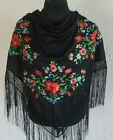 """Spanish flamenco black with red and pink  floral embroidered shawls 66"""" x 39"""""""