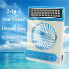 Solar Power/AC Rechageable Camping Light Cool Fan Lamp Tent LED Emergency Light